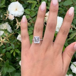 14k Solid White Gold Emerald Cut Engagement Ring